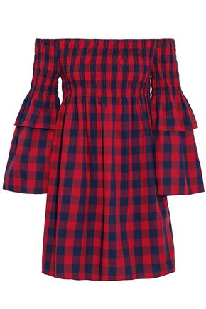 W118 by WALTER BAKER Off-the-shoulder shirred gingham cotton mini dress