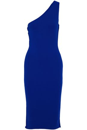 DIANE VON FURSTENBERG One-shoulder pointelle-trimmed stretch-knit dress