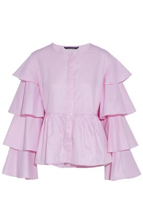 W118 by WALTER BAKER Ruffled striped cotton-blend poplin blouse