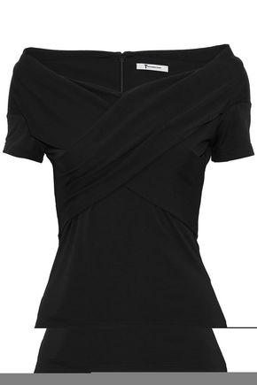 T by ALEXANDER WANG Wrap-effect stretch-jersey top