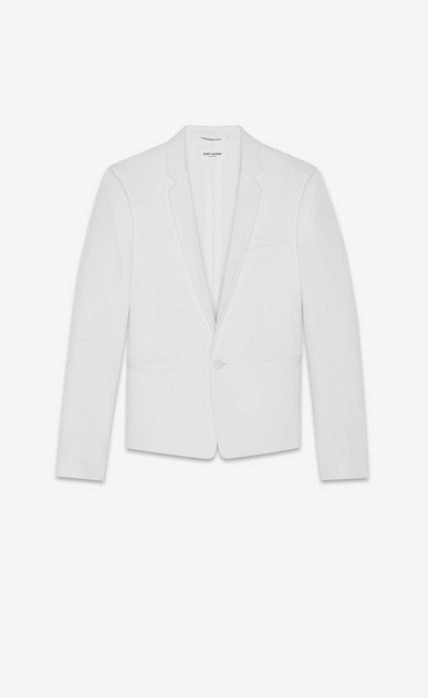 SAINT LAURENT Blazer Jacket Man Short straight-cut jacket in ivory grain de poudre a_V4