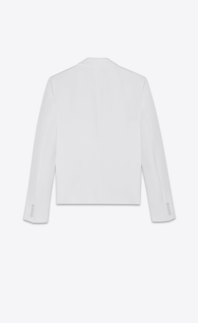 SAINT LAURENT Blazer Jacket Man Short straight-cut jacket in ivory grain de poudre b_V4