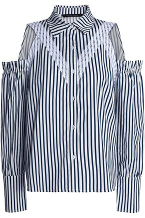 W118 by WALTER BAKER Cold-shoulder lace-trimmed striped cotton-poplin shirt