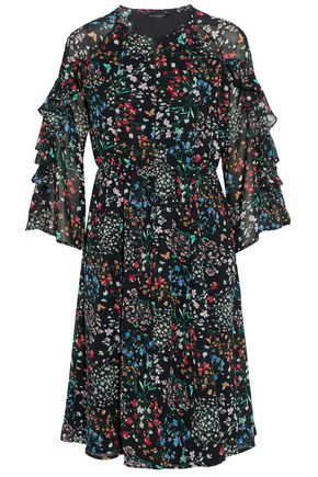 W118 by WALTER BAKER Ruffle-trimmed cutout floral-print chiffon dress