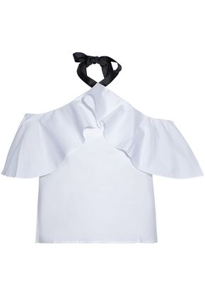W118 by WALTER BAKER Off-the-shoulder ruffled cotton-poplin halterneck top