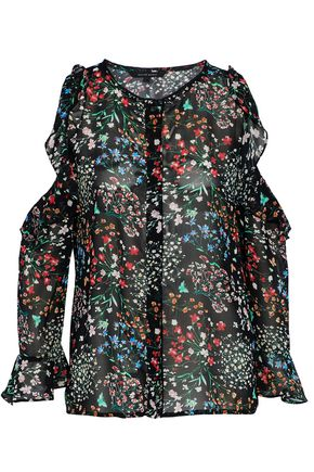 W118 by WALTER BAKER Ruffled cold-shoulder floral-print chiffon blouse