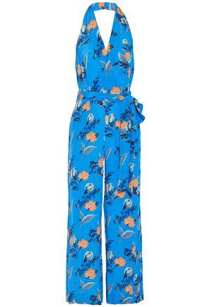 DIANE VON FURSTENBERG Belted floral-print silk crepe de chine halterneck jumpsuit
