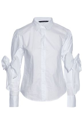 W118 by WALTER BAKER Bow-detailed layered cotton-poplin shirt