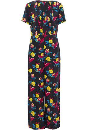 DIANE VON FURSTENBERG Pintucked floral-print silk jumpsuit