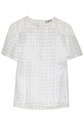 DIANE VON FURSTENBERG Pleated fil coupé blouse