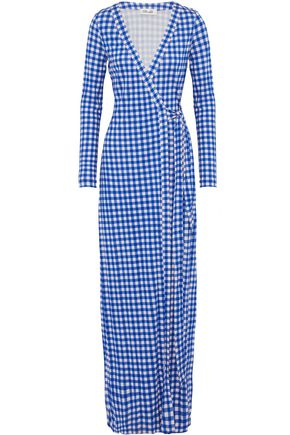 DIANE VON FURSTENBERG New Julian gingham silk-jersey  maxi wrap dress