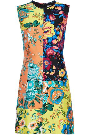 DIANE VON FURSTENBERG Paneled floral-print wool and silk-blend mini dress
