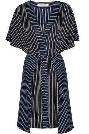 DIANE VON FURSTENBERG Tie-front layered striped silk-twill dress