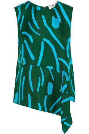 DIANE VON FURSTENBERG Asymmetric draped printed silk-satin top