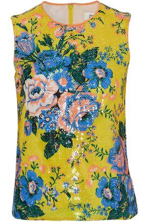 DIANE VON FURSTENBERG Floral-print sequined tulle top