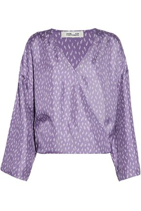 DIANE VON FURSTENBERG Wrap-effect printed silk-satin blouse