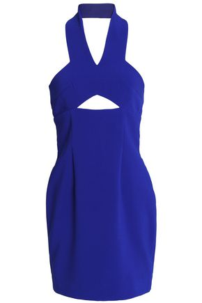 SOLACE LONDON Cutout crepe halterneck mini dress