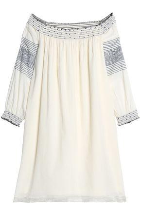VELVET by GRAHAM & SPENCER Off-the-shoulder embellished printed cotton dress