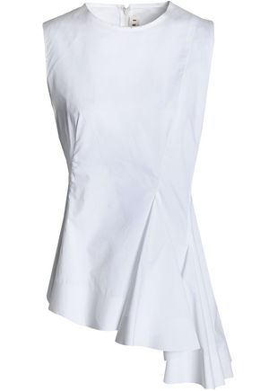 MARNI Asymmetric ruffled cotton-poplin top