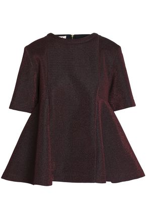 MARNI Metallic cotton-blend peplum top