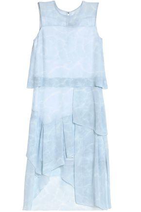 BELSTAFF Tiered printed silk-georgette midi dress