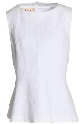 MARNI Crinkled linen-blend peplum top