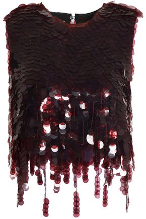 MARNI Fringed sequined satin-twill top