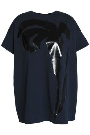 MARNI Tie-back appliquéd cotton-blend jersey top
