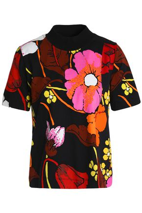 MARNI Floral-print cotton-blend jersey top