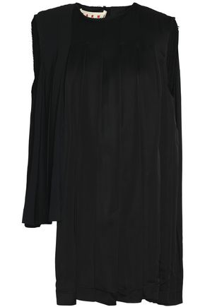 MARNI Asymmetric pleated satin-crepe top