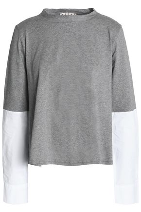MARNI Poplin-paneled mélange cotton-jersey top
