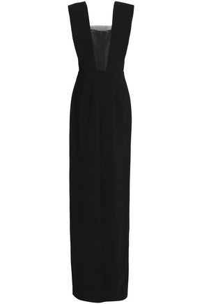 SOLACE LONDON Mesh-paneled crepe gown