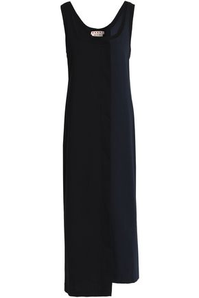 MARNI Wrap-effect two-tone cotton-blend jersey midi dress