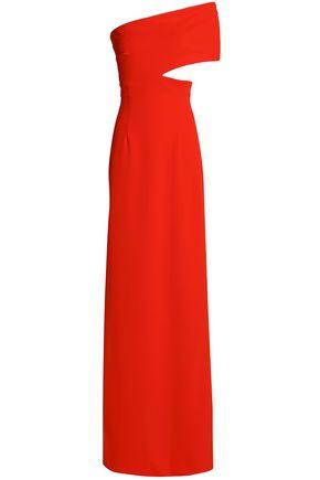 SOLACE LONDON Off-the-shoulder cutout crepe gown