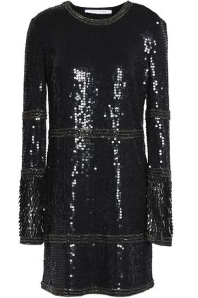 DIANE VON FURSTENBERG Embellished sequined tulle mini dress