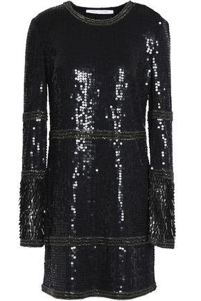 DIANE VON FURSTENBERG Embellished sequined tulle mini dress