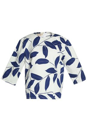 MARNI Printed cotton and linen-blend top