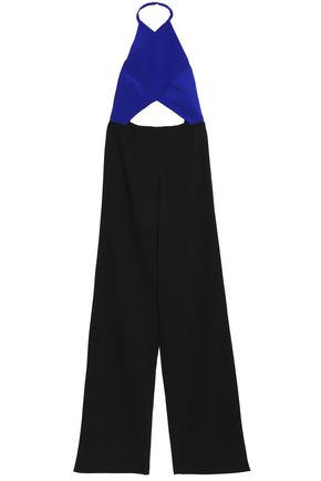 SOLACE LONDON Gathered cutout crepe halterneck jumpsuit