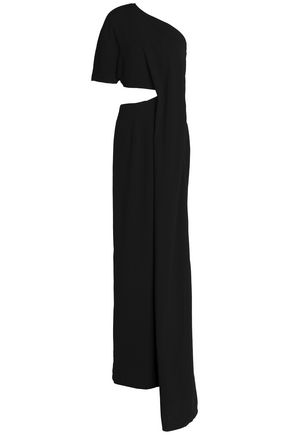 SOLACE LONDON One-shoulder draped cutout crepe gown