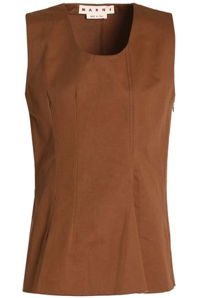 MARNI Pleated cotton and linen-blend peplum top