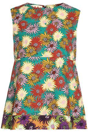 MARNI Floral-print cotton-poplin peplum top