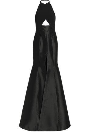 SOLACE LONDON Cutout faille halterneck gown