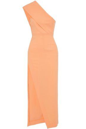SOLACE LONDON One-shoulder split-front cady gown