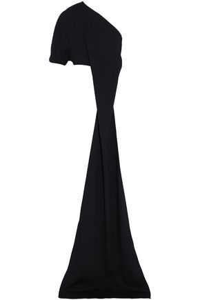 SOLACE LONDON Chrysa one-shoulder cropped draped crepe top