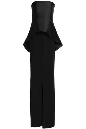 SOLACE LONDON Strapless faille-paneled crepe gown