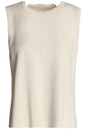 MARNI Open-back satin-trimmed cotton-blend top