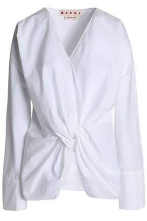 MARNI Knotted cotton-poplin top
