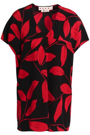 MARNI Printed silk-crepe de chine top