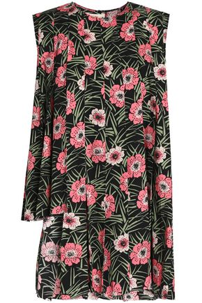 MARNI Asymmetric pleated floral-print cotton-poplin top