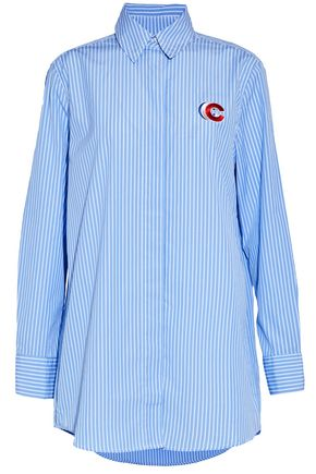 ÊTRE CÉCILE Appliquéd striped cotton-poplin shirt